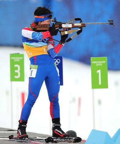Светлана Слепцова на огневом рубеже.